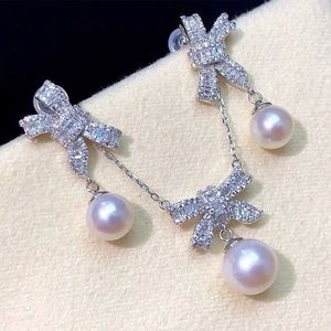 New nature pearl 925 silver necklace earrings set